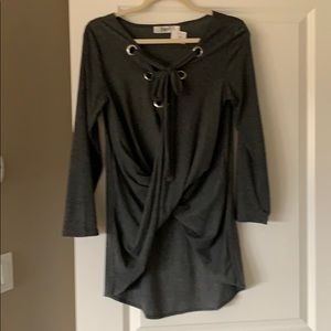 Lace up V-neck Dark Gray Tunic